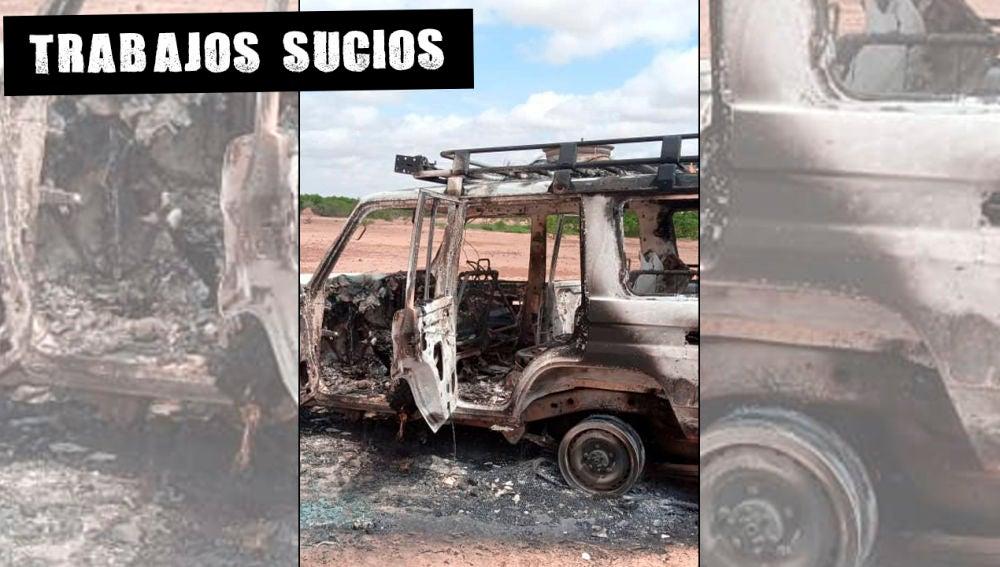 Estado en el que quedó el vehículo en el que viajaban las turistas asesinadas