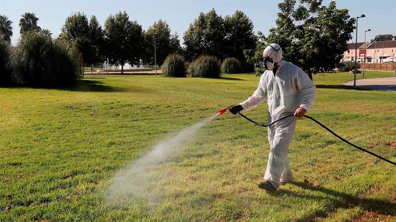 Un operario fumigando en Coria del Río por el virus del Nilo