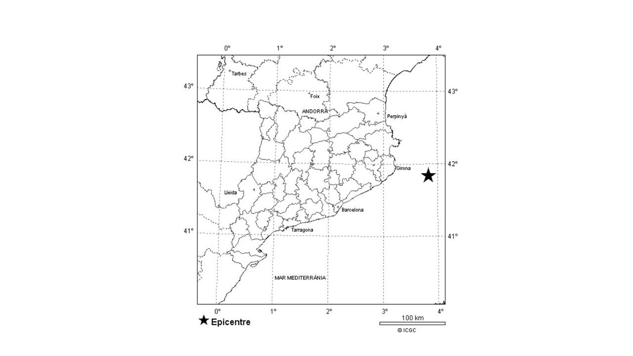 Epicentro del temblor cerca de la Costa Brava