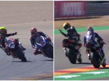 Dos pilotos de Superbikes se persiguen en pista