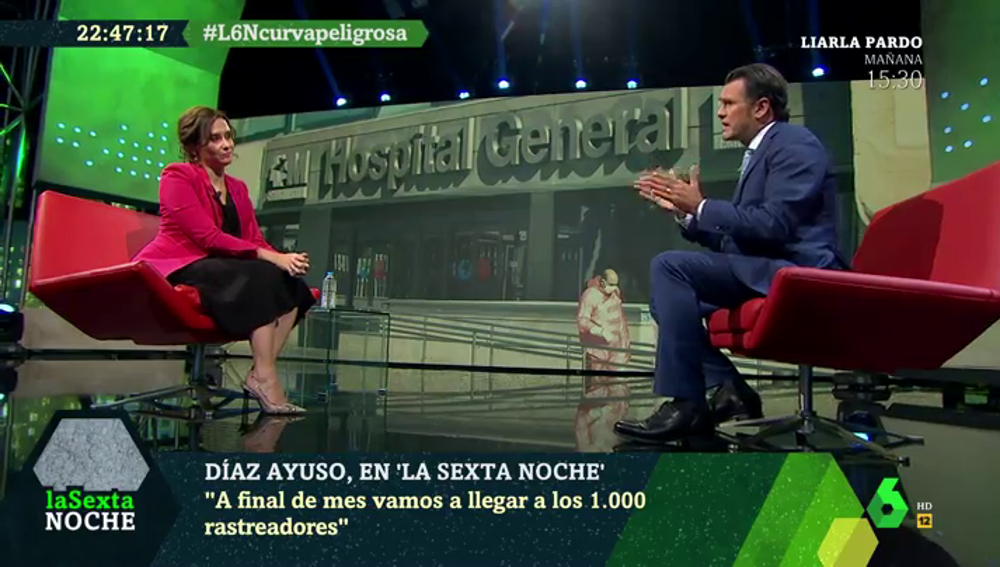 Isabel Díaz Ayuso, con Iñaki López en laSexta Noche