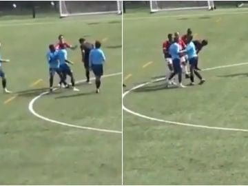 Momento de la agresión a Satyam Toki