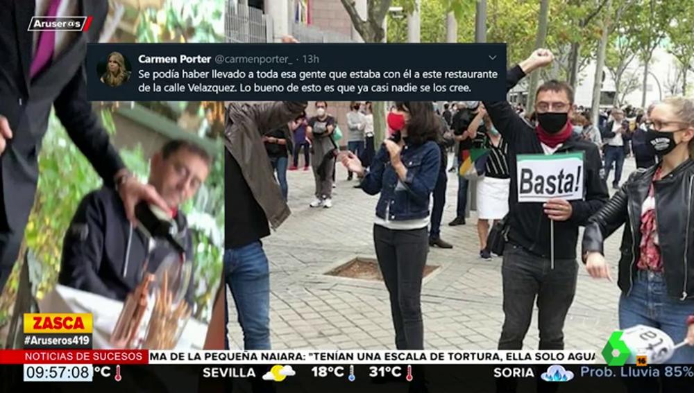 Carmen Porter carga contra Juan Carlos Monedero tras ser cazado en un restaurante exclusivo de Madrid