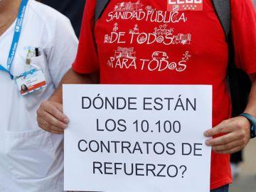 """Sanitarios se manifiestan r el """"abandono y el desprecio a los profesionales"""" por parte del Gobierno de la Comunidad de Madrid."""