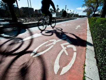 Varias bicicletas circulan por un carril especial para ellas
