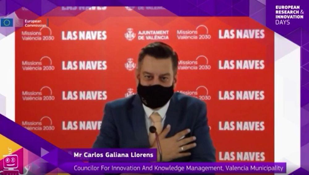 El concejal Carlos Galiana durante su intervención ante la Comisión Europea.