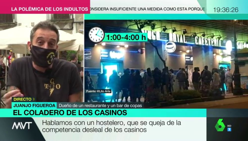 """Hosteleros critican el agravio comparativo con los casinos: """"Nos obligan a cerrar a la 1, y los jóvenes se van a apostar"""""""