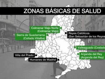 Mapa de las zonas con restricciones en Madrid