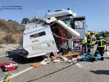 Siniestro de la autocaravana en Cádiz