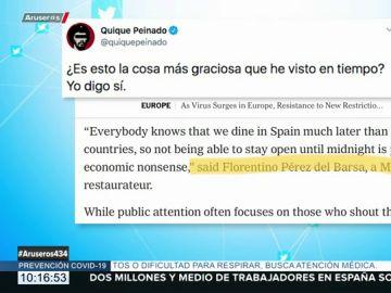 Florentino Pérez del Barsa o el 'falso' troleo al 'The New York Times' que ha conquistado a Quique Peinado