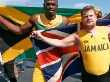 Usain Bolt y James Corden compiten entre ellos