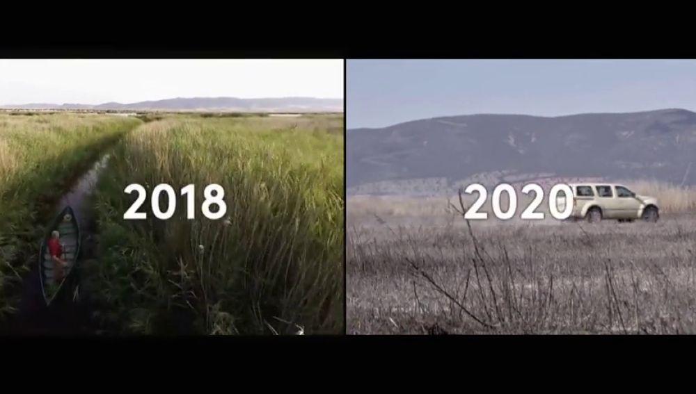 La fotografía desoladora de las Tablas de Daimiel, un Parque Nacional que parece un paisaje lunar con fango y verdina