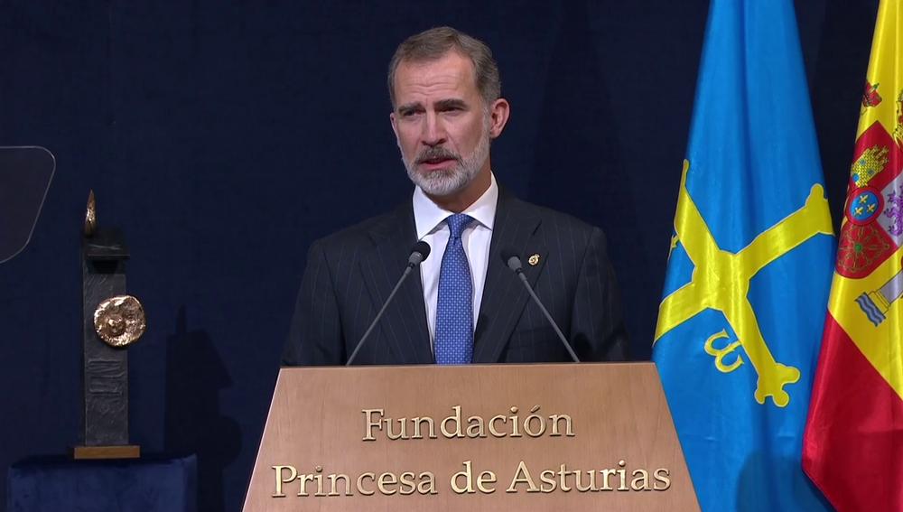 El rey Felipe VI, durante la entrega de los premios Princesa de Asturias 2020