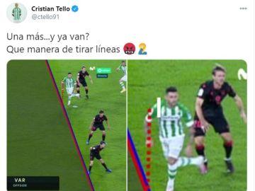 Captura del tuit de Cristian Tello