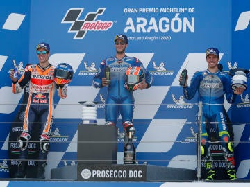 Àlex Rins, Alex Márquez i Joan Mir: podi espanyol al GP d'Aragón