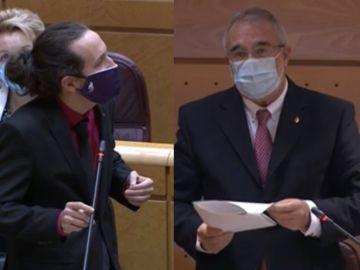 Pablo Iglesias responde al senador de Vox José Manuel Marín Gascón en el Senado.