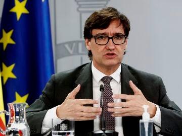 El ministro de Sanidad, Salvador Illa durante su intervención en la rueda de prensa posterior a la reunión semanal del Consejo de Ministros