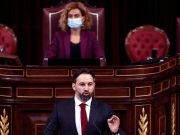 El líder de Vox, Santiago Abascal, durante su intervención durante la moción de censura de su partido