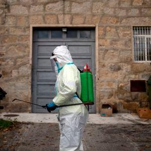 Un operario municipal realiza labores de desinfección