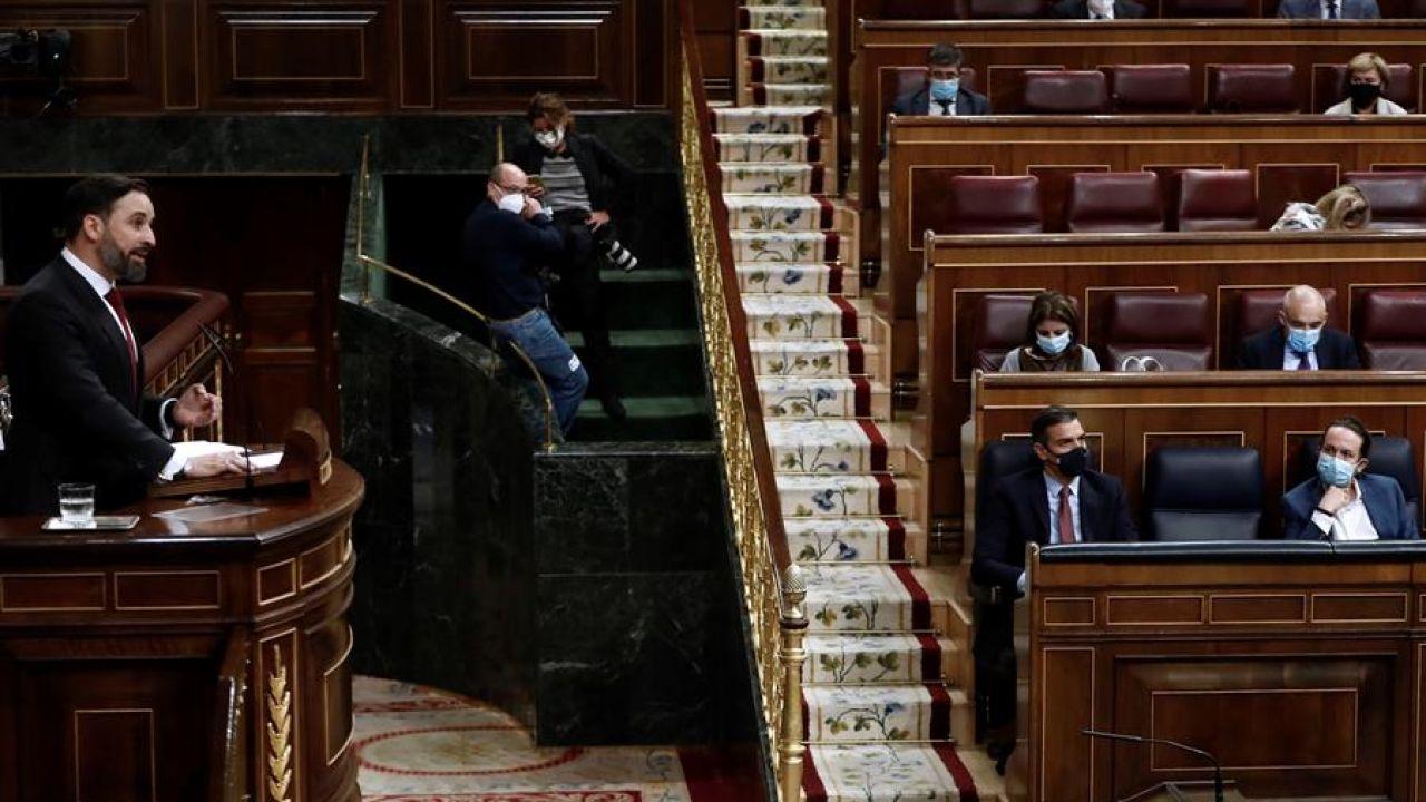 Santiago Abascal en la moción de censura de Vox contra Pedro Sánchez en el Congreso de los Diputados