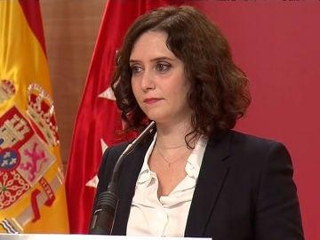 Isabel Díaz Ayuso, durante su comparecencia