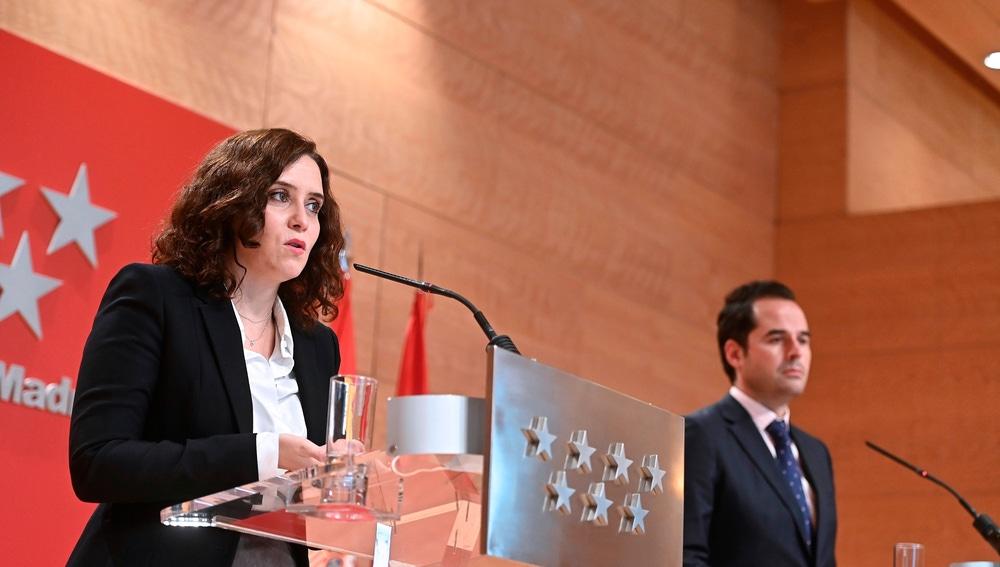 Isabel Díaz Ayuso e Ignacio Aguado, en una comparecencia