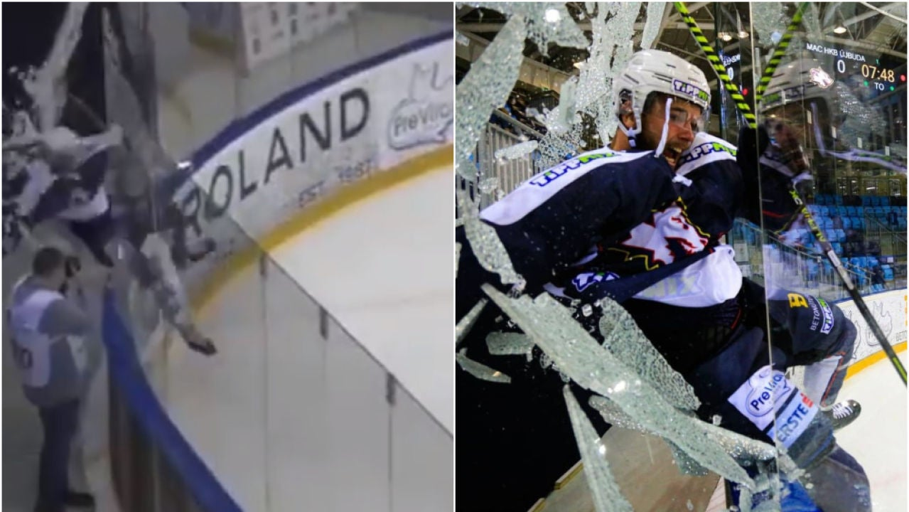 Márkó Csollák, rompiendo el cristal protector al celebrar un gol