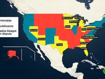 Elecciones EEUU | Qué son los estados bisagra que decidirán el ganador en la batalla Trump - Biden