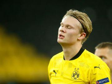 Haaland, en partido de Champions con el Dortmund