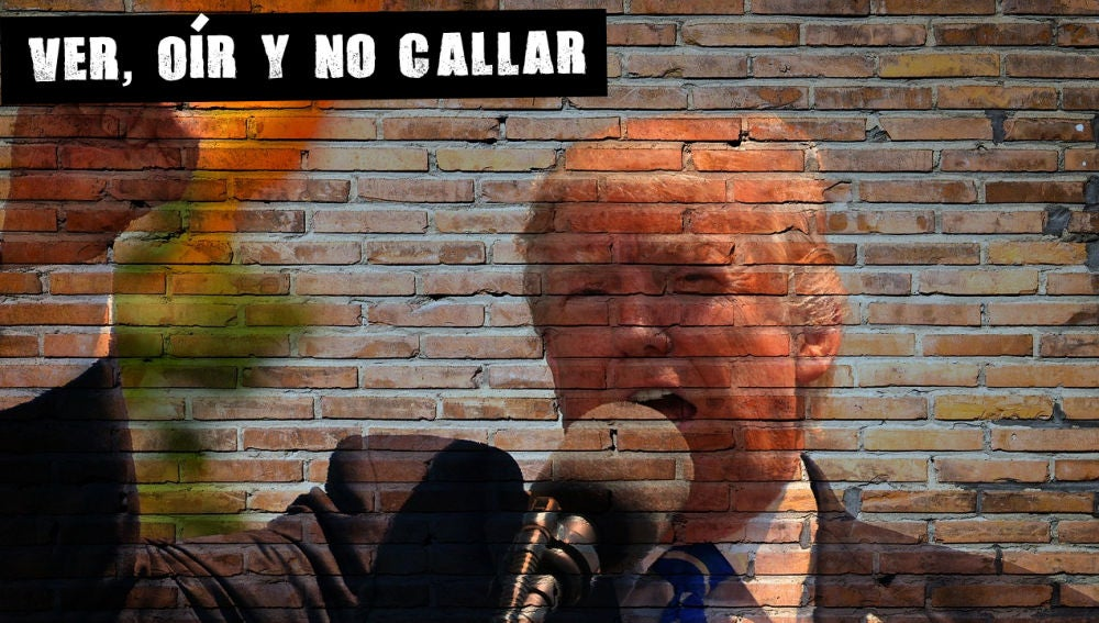 Imagen de Trump sobre un muro