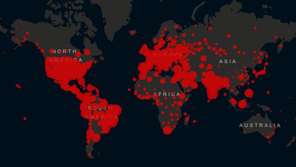 Mapa de incidencia de casos en todo el mundo