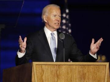 Joe Biden durante su primer discurso tras ser elegido presidente
