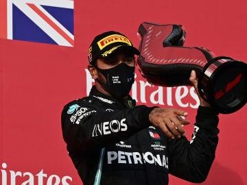 Lewis Hamilton, tras su victoria en Imola