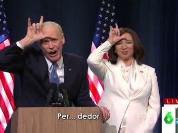 """La divertida imitación de Jim Carrey y Maya Rudolph de Joe Biden y Kamala Harris en la que se burlan del """"perdedor"""" Trump"""