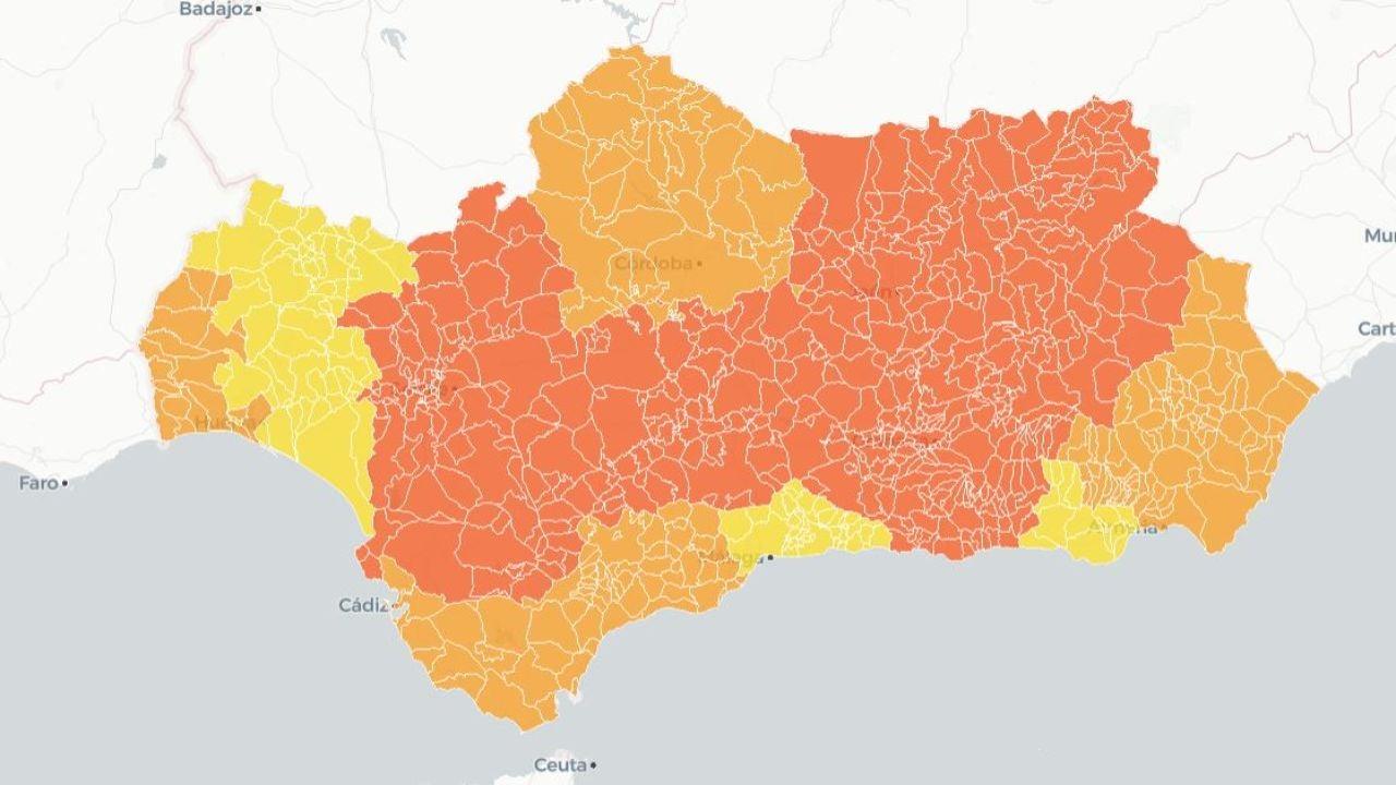 Mapa de Andalucía con las restricciones por municipios
