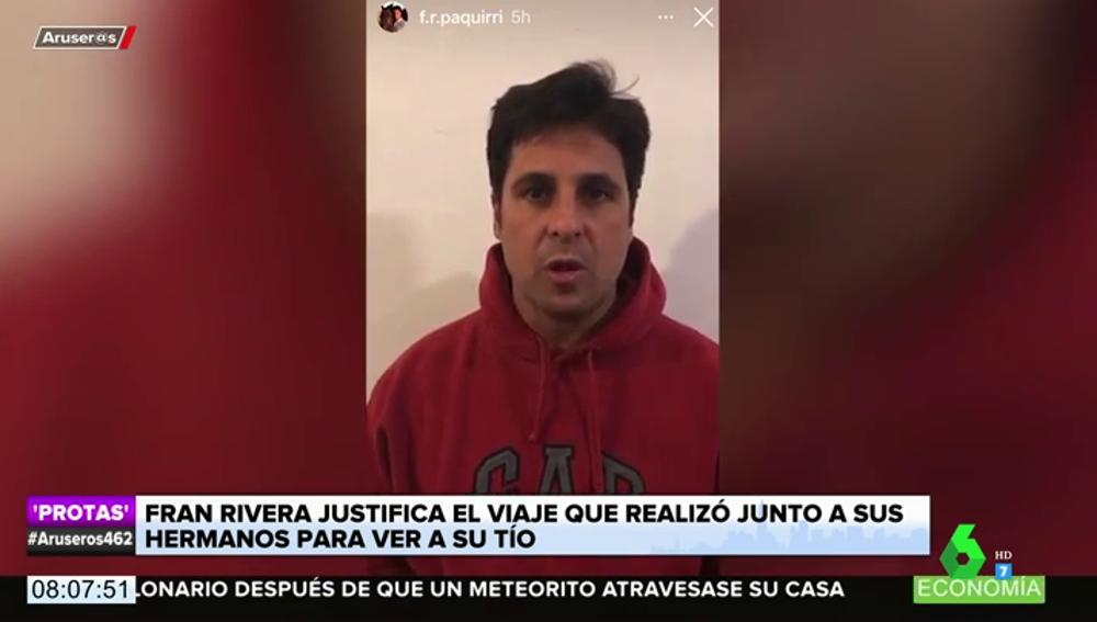 """Fran Rivera responde a los que critican la visita a su tío Riverita: """"Está terminal"""""""