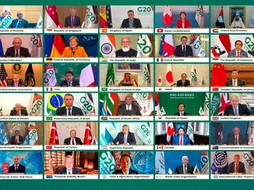 Imagen de la reunión telemática de los líderes del G20