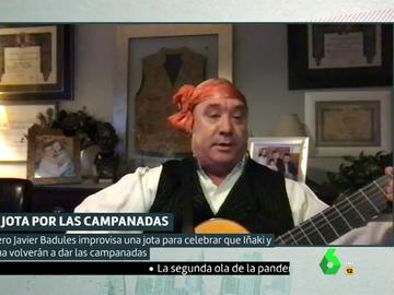 Javier Badules dedica a Cristina Pardo e Iñaki López una jota muy especial por las campanadas