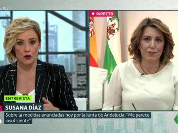 """Susana Díaz responde a la salida de tono del portavoz de Vox en el parlamento andaluz: """"Fue surrealista y ridículo"""""""