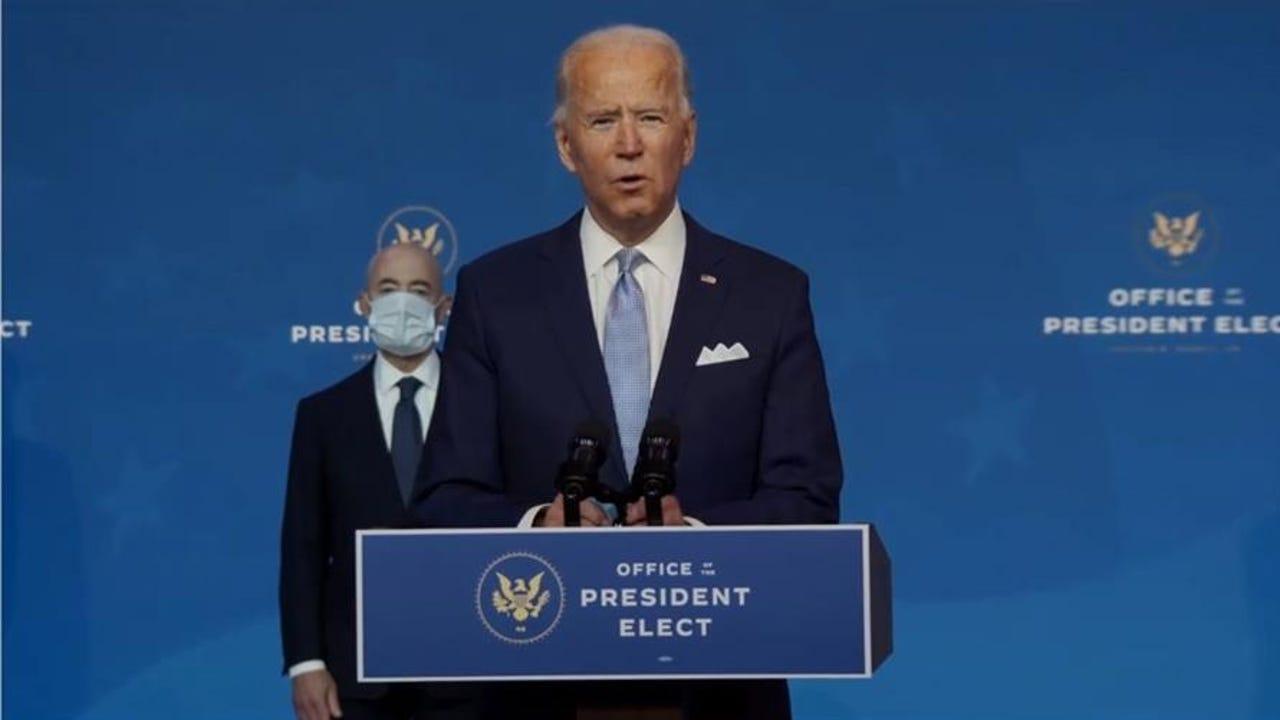 Joe Biden durante la presentación de algunos de los miembros del Gabinete de su futuro Gobierno.