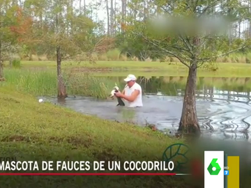 El momento viral en el que un hombre se lanza sobre un cocodrilo que intentaba comerse a su perro