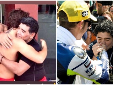 Fernando Alonso con Maradona tras un partido de fútbol y Maradona celebrando la victoria de Rossi en Italia