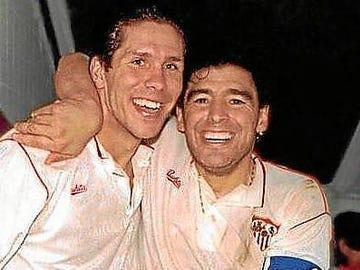 Simeone y Maradona en el Sevilla FC