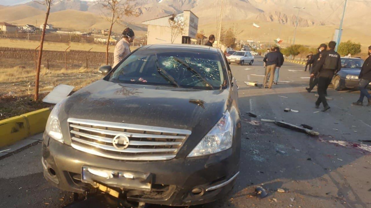 Imagen de la escena en la que se ha producido el asesinato de Mohsen Fakhrizadeh