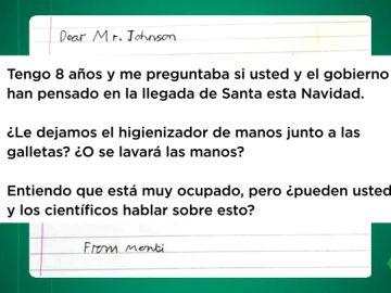"""La carta de un niño británico a Boris Johnson sobre la llegada de Papa Noel: """"¿Le dejamos el gel hidroalcohólico junto a las galletas?"""""""
