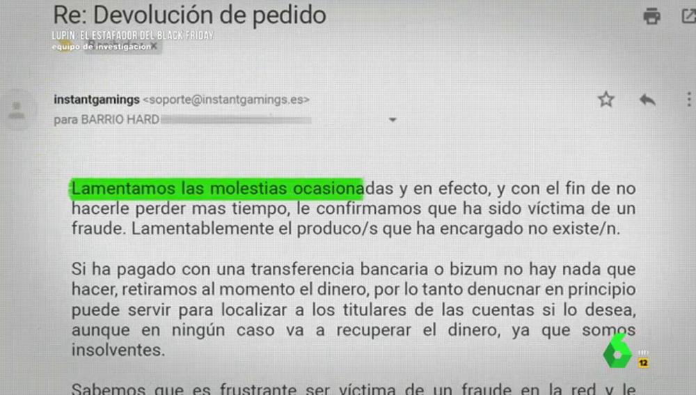 """El """"indignante"""" mensaje que recibió una víctima del ciberestafador 'Lupín': """"Aprenda a tomar mejores decisiones en la red"""""""