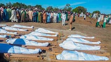 Momento del entierro de las víctimas del ataque de Boko Haram