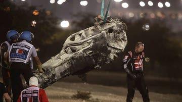 Así quedó el coche de Romain Grosjean