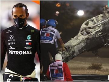 Hamilton y el coche de Romain Grosjean