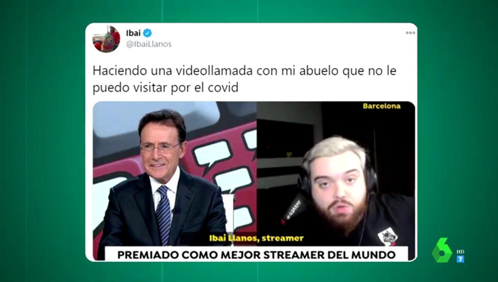 """El meme viral de Ibai Llanos con Matías Prats tras su entrevista en el informativo: """"Haciendo una videollamada con mi abuelo"""""""